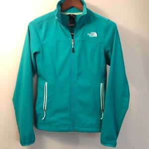 The North Face XS Teal Soft Shell Jacket Zip-Up